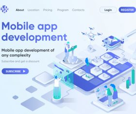 Mobile app development concept vector