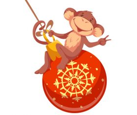 Monkey on Christmas balls vector