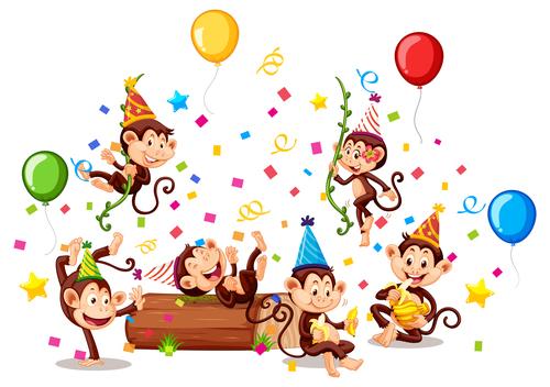 Monkey party vector