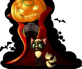 Mr Pumpkin and Black Cat cartoon vector