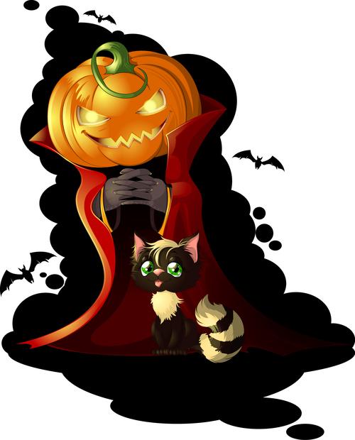 Mr Pumpkin and Black Cat cartoon vector