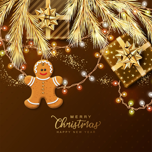 Neon string gingerbread pine branches christmas element card vector