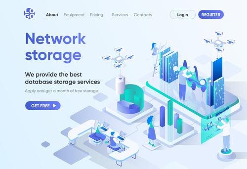 Network storage new technologies concept vector
