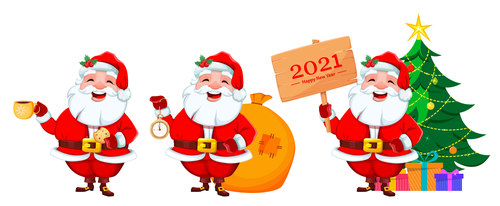 New Year countdown Santa cartoon illustration vector