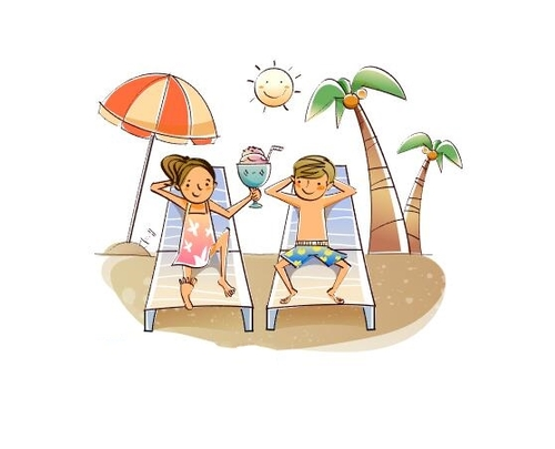 Nice seaside vacation concept illustration vector