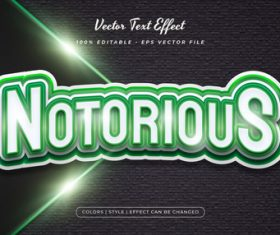 Notorious embossed texture effect font text vector