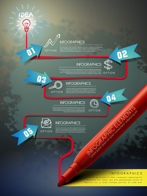 Oily ballpoint pen infographic vector