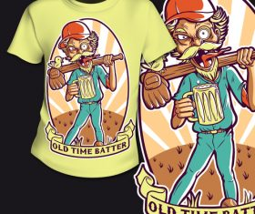 Old time batter t-shirt printing pattern design vector