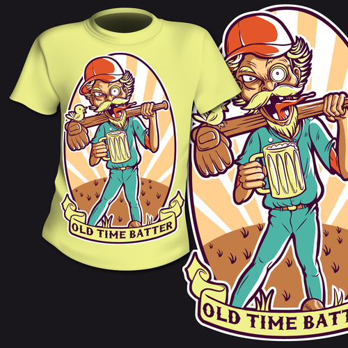 Old time batter t shirt printing pattern design vector