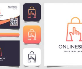 Onlineshop business card logo vector