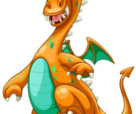 Orange spotted dinosaur cartoon vector