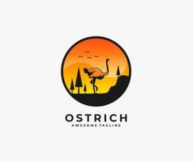 Ostrich logos vector