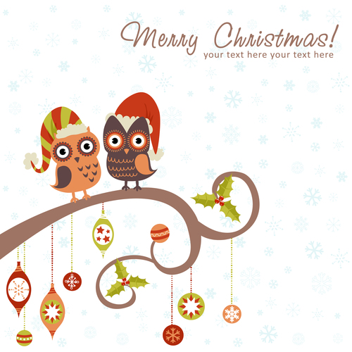 Owls winter card white together text vector