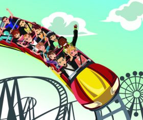 People riding a roller coaster vector