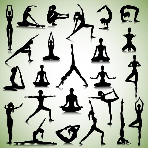 People sport silhouette vector