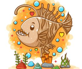 Piranha cartoon watercolor illustration vector