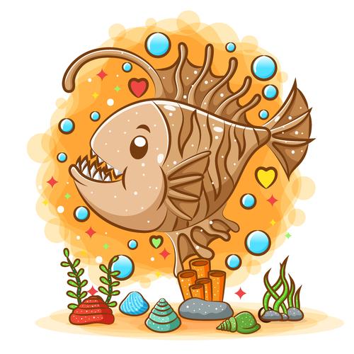 Piranha cartoon watercolor illustration vector