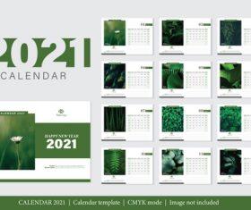 Plant background 2021 calendar vector