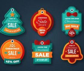 Pretty cartoon Christmas sale label vector