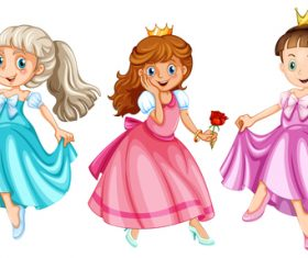 Pretty little princess cartoon vector