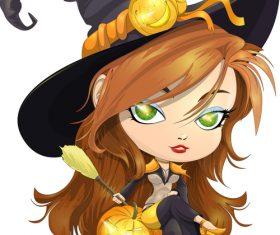 Pretty witch cartoon vector