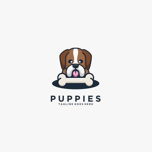 Puppies logos vector