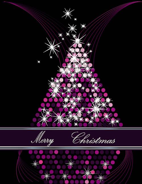 Purple abstract christmas tree vector