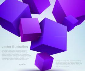 Purple cube 3D background vector