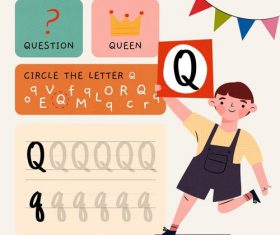 Q letter word meaning and spelling vector