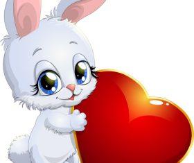 Rabbit and hearts vector