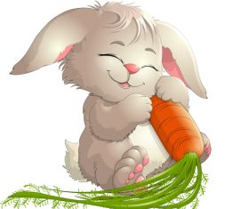 Rabbit cartoon vector holding carrot