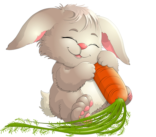 Rabbit cartoon vector holding carrot