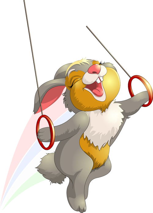 Rabbit cartoon vector playing with hand ring