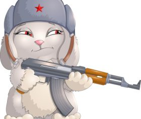 Rabbit soldier cartoon vector