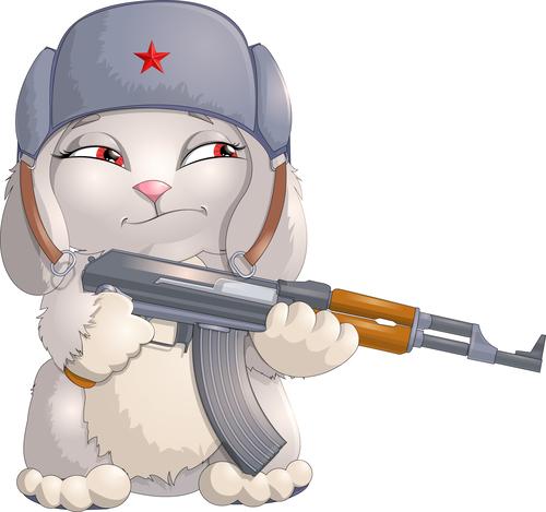 Rabbit soldier cartoon vector
