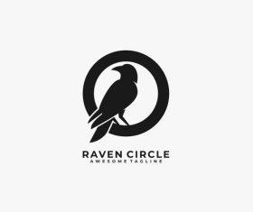 Raven clrcle logos vector
