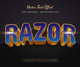 Razor embossed texture effect font text vector
