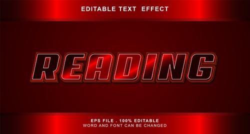 Reading 3d editable text style effect vector