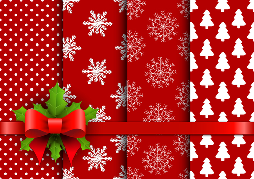 Red andseamless christmas patterns vector