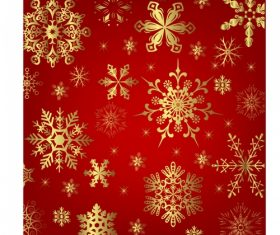 Red background golden snowflakes seamless background vector