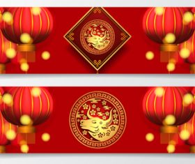 Red lantern background chinese new year greeting banner vector