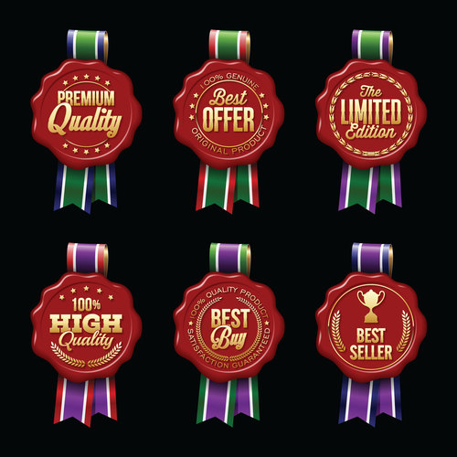 Red ribbon decoration sale label sticker vector