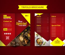 Red trifold brochure food menu vector