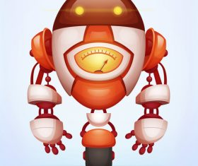 Red wheeled robot vector
