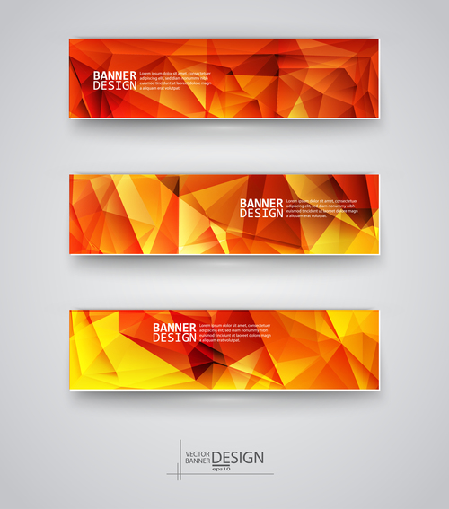 Red yellow polygonal banner vector