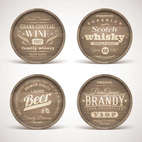 Retro wooden labels vector