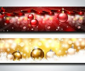 Ribbon christmas banner vector