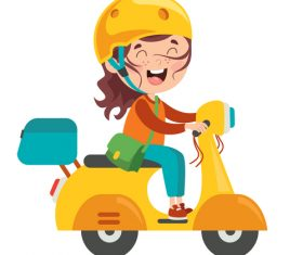 Riding an electric car cartoon character vector