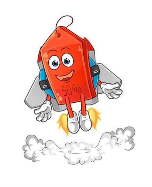 Rising sales cartoon mascot vector