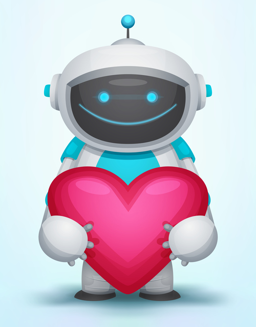 Robot holding a heart shape vector